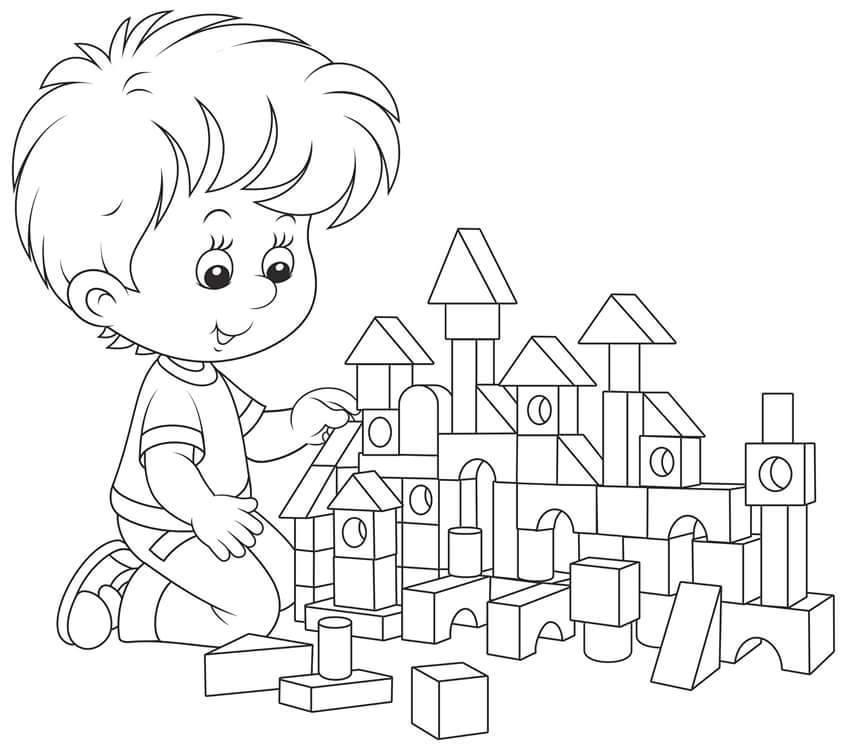 Рисунок девочка и мальчик играют в конструктор