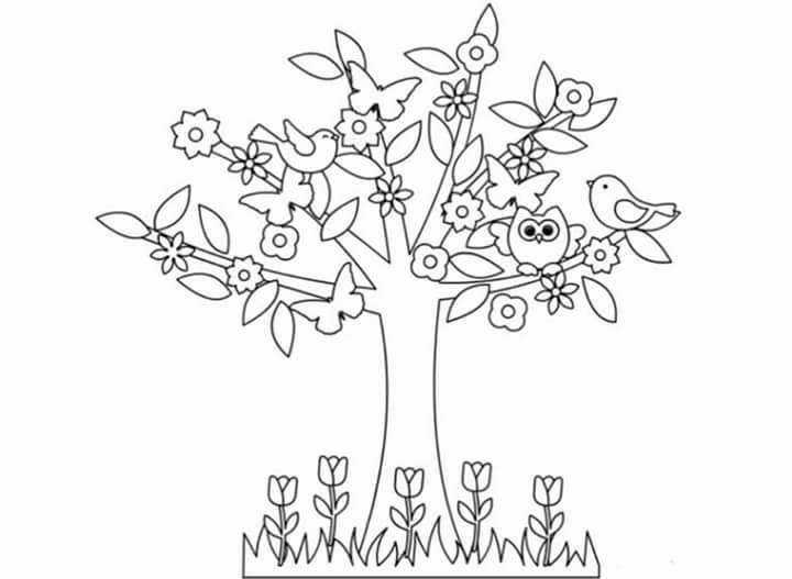 Jarní kytičkové nebo stromové omalovánky návody pro