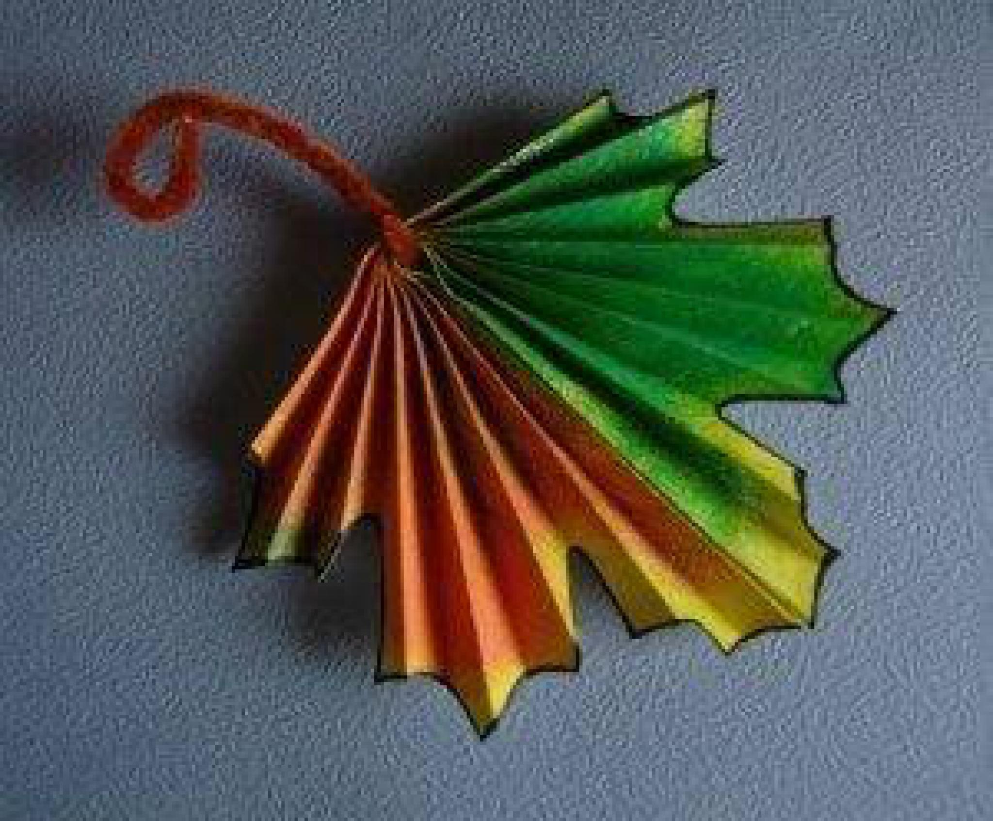 Кленовый лист из бумаги по шаблонам и схемам оригами 7