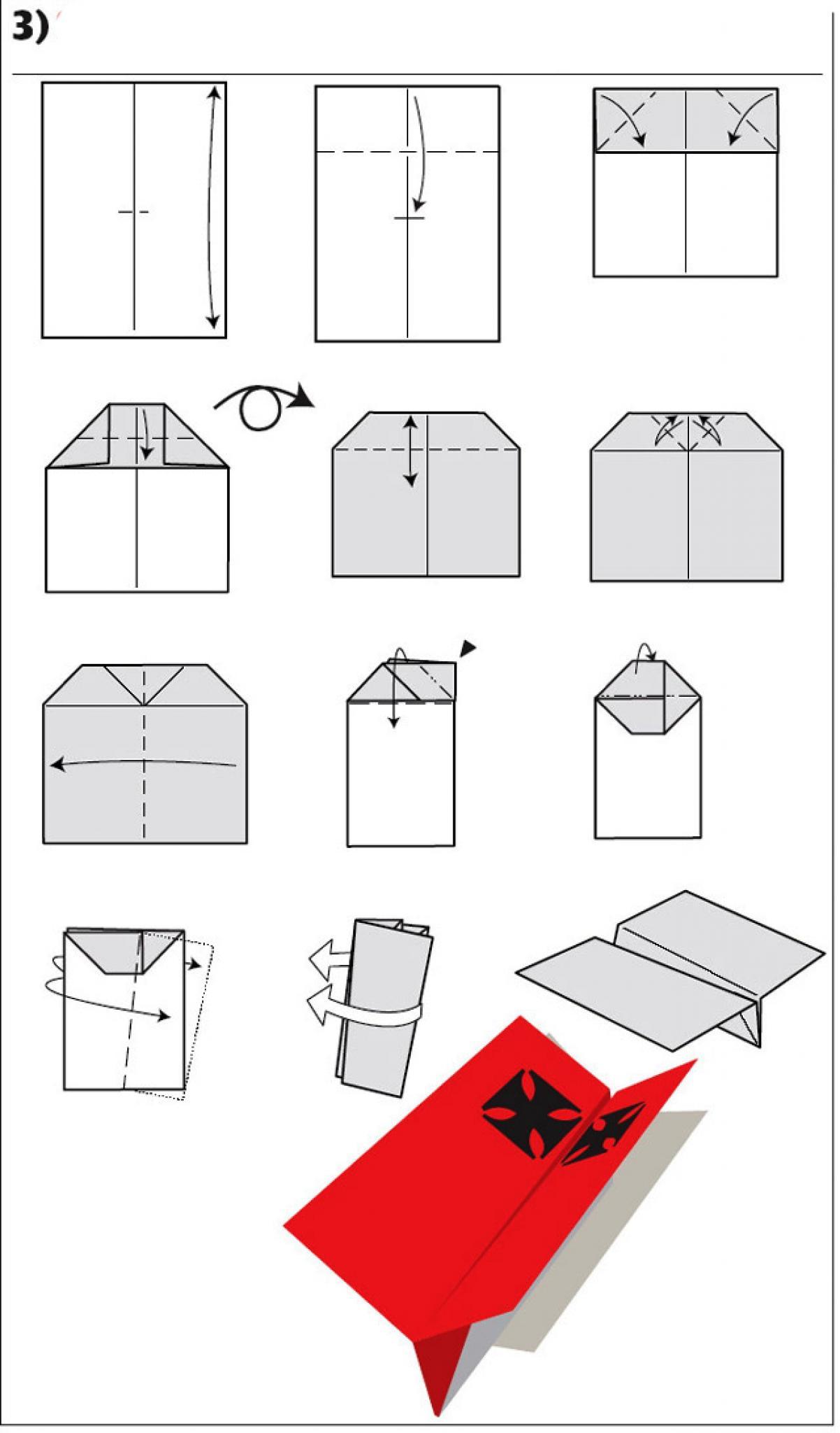 Схема бумажного самолетика для детей