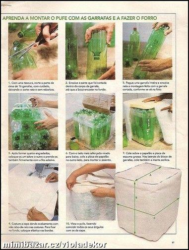 Сделать своими руками из пластиковых бутылок пуфик