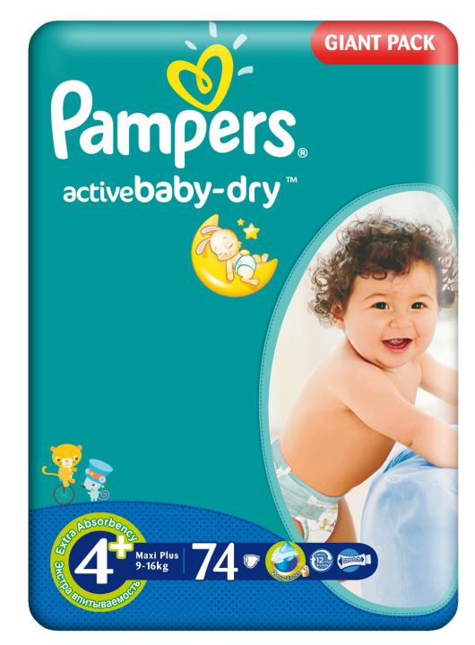 Pampers Giantpack 4 MaxiPlus 74 ks