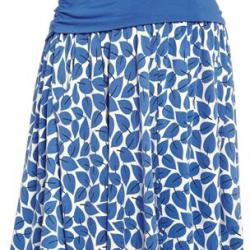 Sukně Blue Leaf Print Skirt